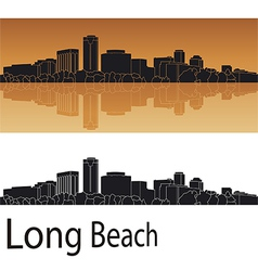 Long Beach skyline in orange background vector image vector image