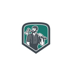 Lumberjack holding axe shield retro vector