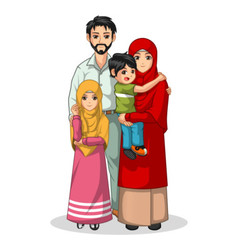 Muslim Family Cartoon Characters vector image