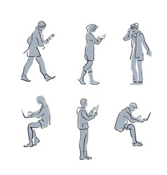 people using gadgets simple sketch line vector image