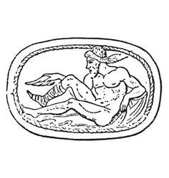 Philoctetes wounded in the foot on a scarab in vector