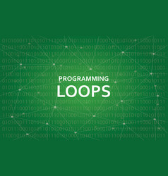 Programming loops concept white text vector