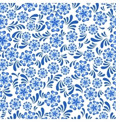 Seamless blue floral pattern in Russian gzel style vector image