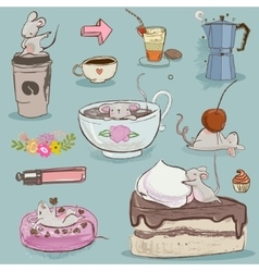 set mouse with desserts and tea vector image vector image