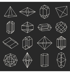 Set of geometric crystals gem and minerals vector