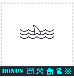 Shark fin icon flat vector