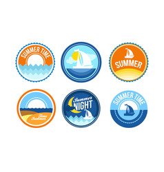 summer time emblems for travel agency vector image