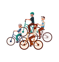 teenage boy and young mature old men riding vector image