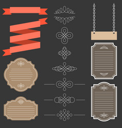 vintage labelsribbon and decoration set 1 vector image