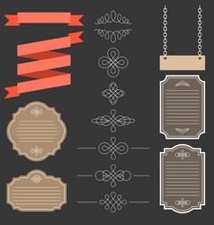 vintage labelsribbon and decoration set 1 vector image vector image