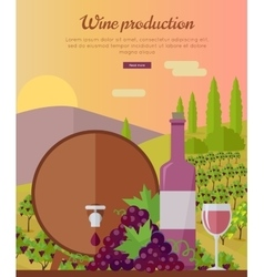 Wine Production Banner Poster for Rose Vine vector image