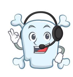 With headphone skull character cartoon style vector
