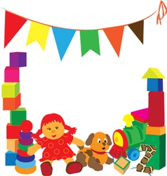 bright frame with toys vector image