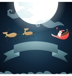 Santa claus flies through the sky on the moon vector