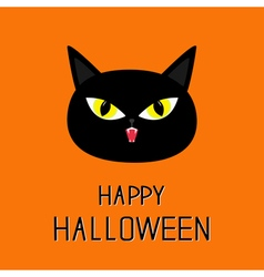 Black cat head yellow eyes fangs happy halloween vector