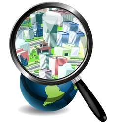 Globe under a magnifying glass and the city vector