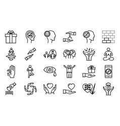 Conscious living icons set vector