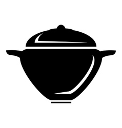 Pot with lid icon simple style vector