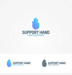 support hand logo consisting of line vector image