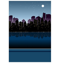 Night cityscape view vector