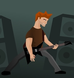 Heavy metal guitar player vector