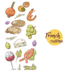 French cuisine hand drawn design with cheese vector