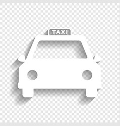 Taxi sign   white icon with vector