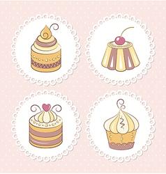 Sweet cupcakes set vector image