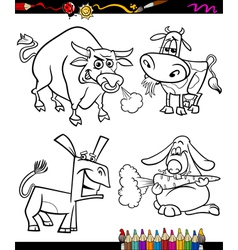 Farm animals set cartoon coloring book vector