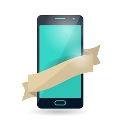 Mobile phone with ribbon vector