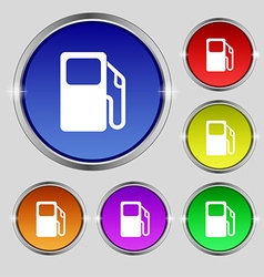 Auto gas station icon sign round symbol on bright vector