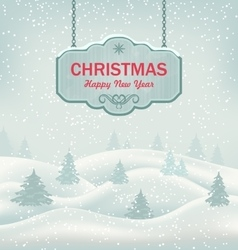 Christmas greeting retro banner with winter vector