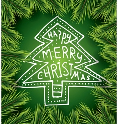 Christmas card with white tree on green background vector