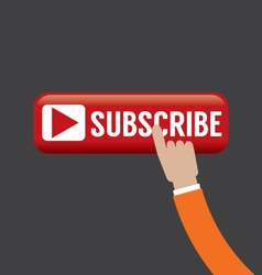 Hand on subscribe button vector