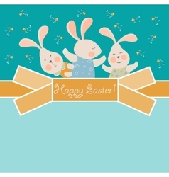 Cute bunnies celebrating easter vector