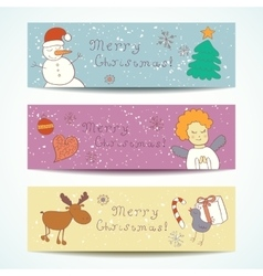 Merry christmas happy companions banner vector