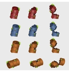 Rusty broken barrels in different colors 12 icons vector