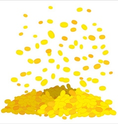 Golden rain falling gold coins heap of money cash vector