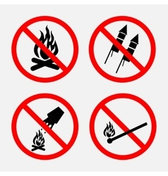 A set of signs prohibiting fire prohibited vector