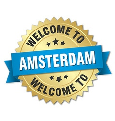 Amsterdam 3d gold badge with blue ribbon vector