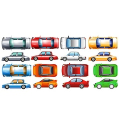 Private cars in many colors vector