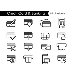 Credit card and e-commerce thin line icon set vector