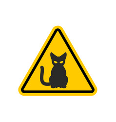 Attention cat danger yellow road sign pet caution vector