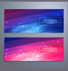 beautiful 4th of july american banners and headers vector image vector image