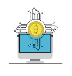 bitcoin digital currency and desktop computer vector image