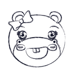 Blurred silhouette face of female hippo animal vector