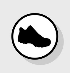 Boot sign flat black icon in white circle vector