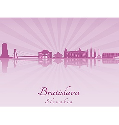 Bratislava skyline in purple radiant orchid vector