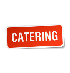 Catering square sticker on white vector