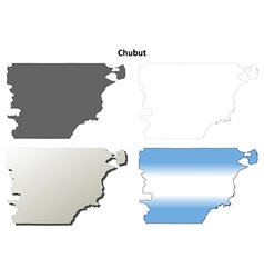 Chubut blank outline map set vector